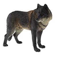 Homyl Realistic PVC Wildlife/Zoo Animal Model Figurine Action Figures Playset Kids Educational Toy Collectibles -Black Wolf