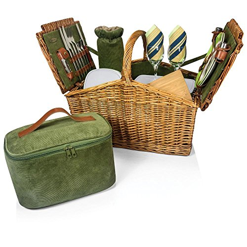 Somerset - English Style Willow Deluxe Basket Green (Willow Baskets Somerset)