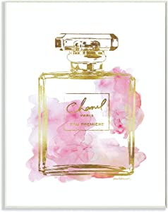 Stupell Industries Glam Perfume Bottle Gold Pink Wall Plaque Art, Proudly Made in USA
