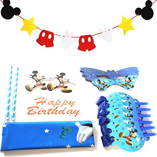 Mickey Mouse Party Supplies | Decorations Kit | Include Happy Birthday Banner | Cake Toppers| 6Pcs Noisemakers Blowouts Toy | Tablecloth | 10pcs Mask| Mickey Mouse Themed Garland Parties Decor -