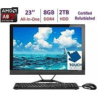 Lenovo 23'' All-In-One Touchscreen FHD Desktop | AMD A8-7410 Quad-Core | 8GB RAM | 2TB HDD | AMD Radeon R5 | DVD +/- RW | Bluetooth | HDMI | Keyboard & Mouse | Windows 10 (Certified Refurbished)