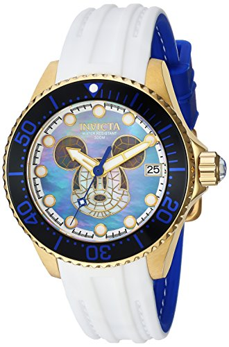 Invicta Women's 'Disney Limited Edition' Automatic Stainless Steel and Silicone Casual Watch, Color:White (Model: 22754)