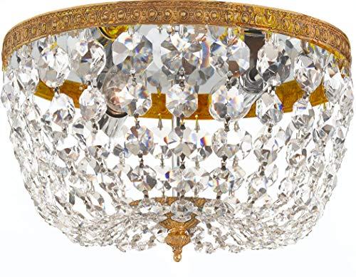 Crystorama 2 Light Clear Italian Crystal Olde Brass Ceiling Mount (Olde Brass Chandelier)