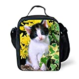 Amzbeauty Cat Lunch Box for Kids Insulated Reusable Portable Small Square Lunch Bag