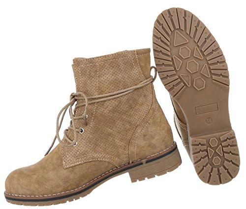 Stylische Damen Stiefeletten | Worker Boots Schnürung | Halbschaft Stiefel | Damenschuhe Leder-Optik | Robuste Outdoor Stiefelette | Gelochte Schnürstiefelette | Schuhcity24 Camel