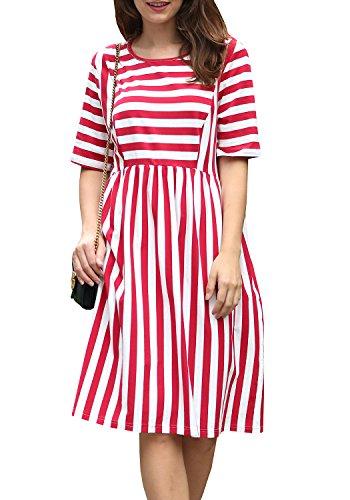 JUNNIOR Womens Striped Cute Bodycon Casual Long Short Sleeve Cocktail Midi Dresses Pockets