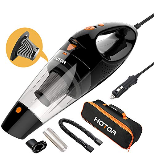Car Vacuum, HOTOR Corded Car Vacuum Cleaner High Power for Quick Car Cleaning, DC 12V Portable Auto Vacuum Cleaner for Car Use Only - Orange