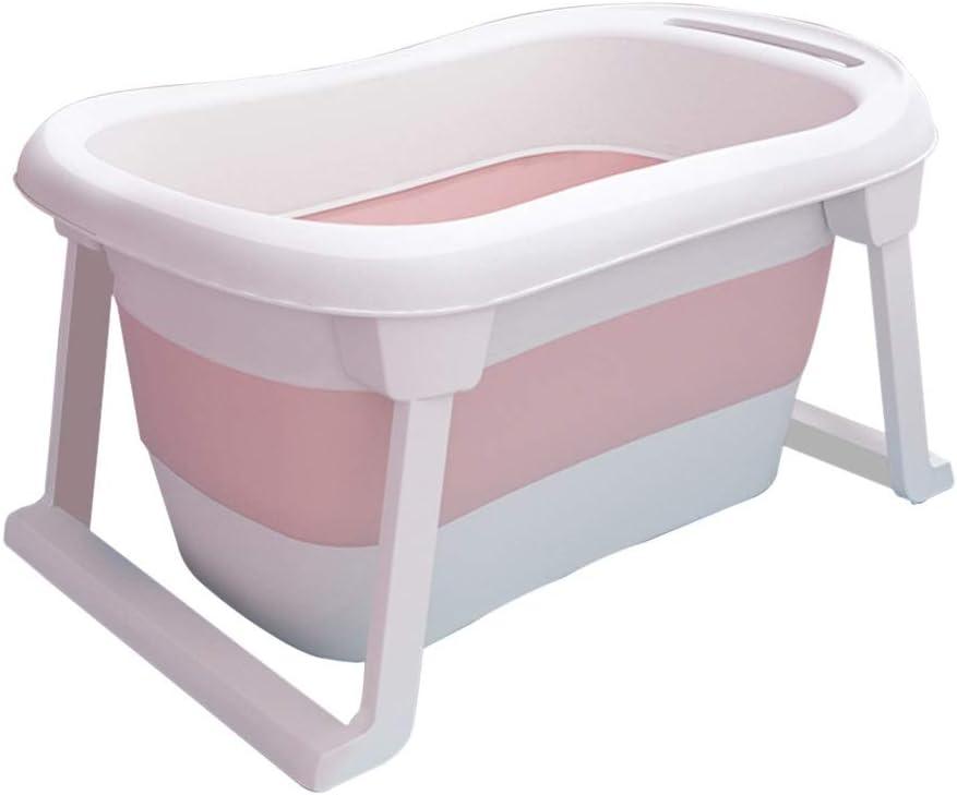 GYF バスタブ ベビーシャワーバケツ 子供用折りたたみ式バスタブ付きポータブル 新生児用浴槽 安定性と耐久性 省スペース 81X48X45CM (Color : Pink)