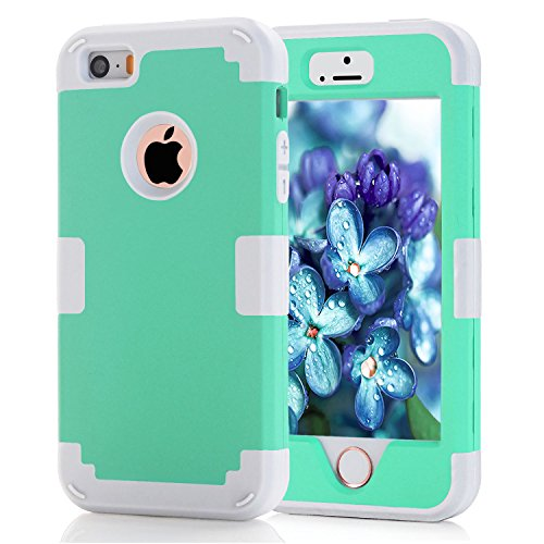 iPhone 5S Case, KAMII 3 Layers Verge Hybrid Soft Silicone Hard Plastic Triple Quakeproof Drop Resistance Protective Case Cover for iPhone 5/5S (Aqua Grey)