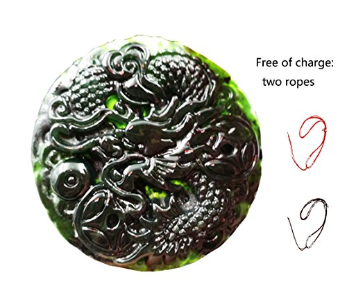 MSFGJZM Black Jade Pendant Necklace Security Peace Car Hanging Ornament Decoration (Dragon) (Jade Necklace Hand Carved Chinese)