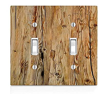 Wood Rustic Light Wooden Background Double Light Switch
