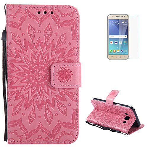KaseHom Samsung Galaxy J5 2016 Flip Wallet Case + [Free Screen Protector] Sun Flower Design [Detachable] Leather Magnetic Holster with Card Slots, Kickstand Full Protective Cover - Pink