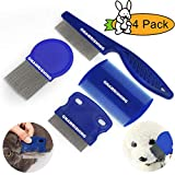 GNAWRISHING Flea Comb 4Pcs with High Strength Teeth Durable Pet Tear Stain Remover Combs, Pet Dog Cat Grooming Comb Set Effective Float Hair Remover