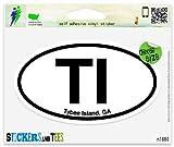 "TI Tybee Island Georgia Oval Car Sticker Indoor Outdoor 5"" x 3"""