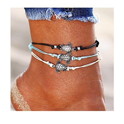 - ATIMIGO 3PCS Boho Beach Turtle Rope Anklet Bracelet Handmade Foot Jewelry for Women Teen Girls