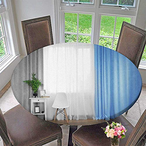 PINAFORE HOME Premium Tablecloth smwhite Table with Green Plant and Chair on Curtain Background Everyday Use 35.5
