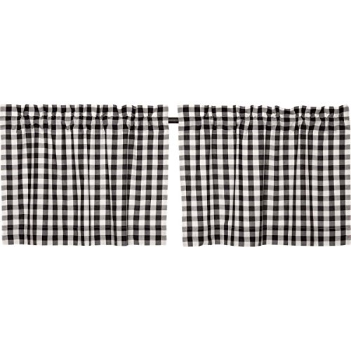 VHC Brands Classic Country Farmhouse Kitchen Window Curtains - Annie Buffalo Check White Lined Tier Pair, L24 x W36, Black