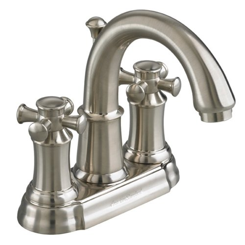Centerset Spout Faucet 4' (American Standard 7420.221.295 Portsmouth Centerset Lavatory Faucet with Speed Connect Drain with Cross Handles, Crescent Spout, Satin Nickel)