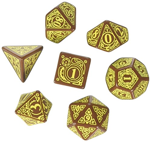 Q-Workshop Steampunk Dice Brown/Yellow (7 STK.) Board Game 3