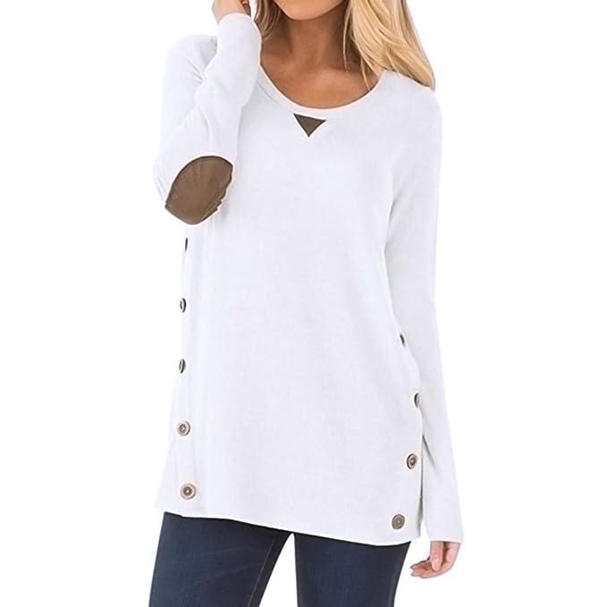 OVERDOSE Frauen Tops Casual Langarm Rundhals Knopf Sweatshirt Lose Pullover  Frühling Sommer Bluse Shirt (A