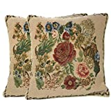 Cheap Tache 2 Piece 18 x 18 inch Spring Colorful Floral Woven Tapestry Country Rustic Morning Meadow Throw Pillow Cushion Cover