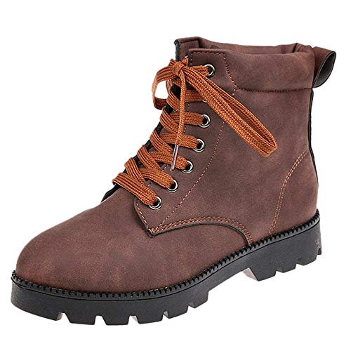 (Newest Ankle Shoes for Women,Sunyastor Round Toe Lase-up Ankle Boots Ladies Leather Combat Booties Fashion Boots)