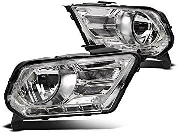 ZMAUTOPARTS Ford Mustang 2Rd Base//GT Crystal Headlights Lamp Chrome Left+Right Pair