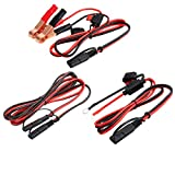 16 Gauge SAE Cable Battery Charger Kits,12 V SAE to SAE 2 Pin Connect Harness,SAE to Battery Alligator Clip Quick Disconnect Release Adapter, SAE to O Ring Terminal Extension Wire with Fuse (3 Pack)