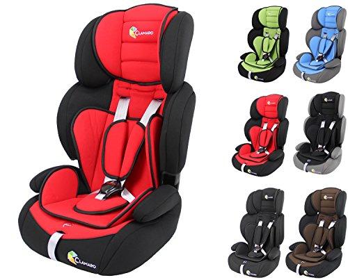 Clamaro 'Guardian 2017' Kinderautositz 9-36 kg verstellbar und mitwachsend, Auto Kindersitz für Kinder von 1-12 Jahre, Gruppe 1/2/3, ECE R44/04, Farbe: Schwarz Rot