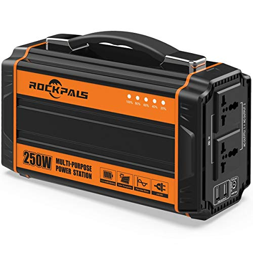 Rockpals 250-Watt Portable Generator Rechargeable Lithium Battery Pack Solar Generator with 110V AC Outlet, 12V Car, USB Output Off-grid Power Supply for CPAP Backup Camping Emergency (Lithium Ion Battery Solar)