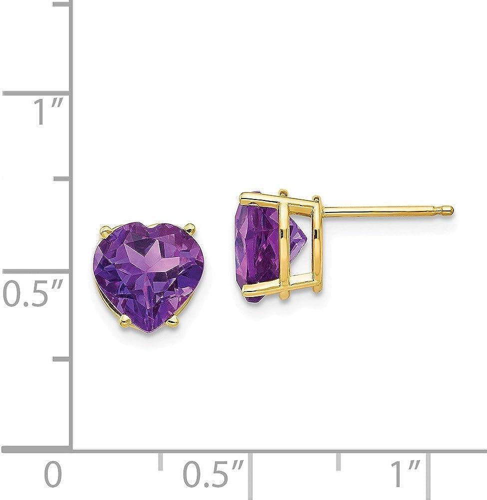 14k 8mm Heart Amethyst earring February