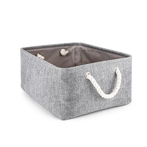 Storage Basket,Mee'life Foldable Linen Storage Bins Fabric Organizer with Handles to Organize Office Bedroom Closet Toys Laundry Gray(Large). by mee'life