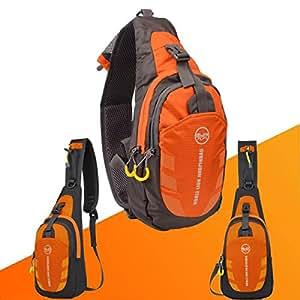 inkint ocio aire libre SLING BAG bolsa grande capacidad tela de Nylon Waterproof Unisex & bolsa de pecho apta para el jogging/Camping/Senderismo/Ciclismo, naranja