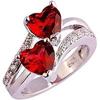 Wedding Love Garnet & Ruby Spinel Gemstone Silver Ring Size 6 7 8 9 10 11 12 13 (8)