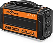 Rockpals 250-Watt Portable Generator Rechargeable Lithium Battery Pack Solar Generator with 110V AC Outlet, 12