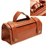 Leather Holdall,ZJchao Brown Leather Travel Wash Bag Sports Pouch Case Shaving Brush & Razor Toiletry Bag For Men's Birthday Christmas Day Gift