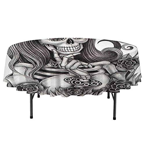 (Skull Easy to Care for Leakproof and Durable Round tablecloths Sexy Skull Girl with Floral Veil Ceremony Day of The Dead Bride Skeleton Lady Art Outdoor Picnic D40 Inch Grey)
