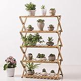 Bamboo frame multi-layer folding frame flower rack indoor,living room,balcony,bedroom shoe rack shelf-A