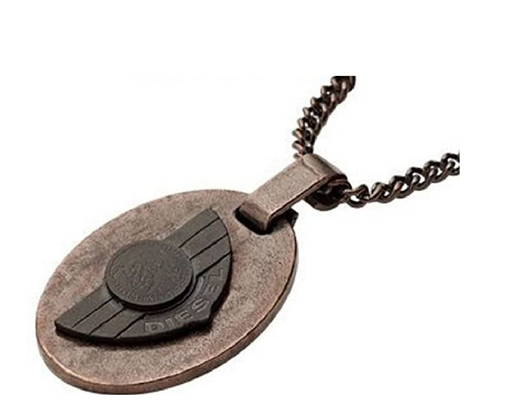 Diesel DX0555 Men's Brown IP Military Dog Tag Pendant Necklace Jewelry