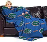 "NCAA Florida Gators Comfy Throw, Blanket with Sleeves ""Repeat"" Design"
