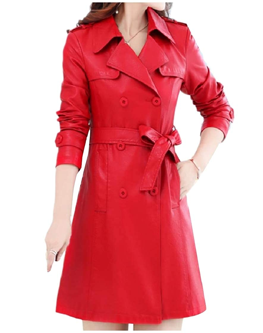YUNY Womens Lapel Slimming Plus-Size Double Button Leather Coat Jacket Red XL