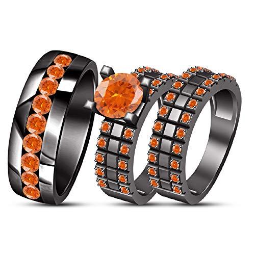 - TVS-JEWELS Solid Black Rhodium Plated 925 Silver Men & Women's Ring Trio Bridal Wedding Ring Set (Orange Sapphire)
