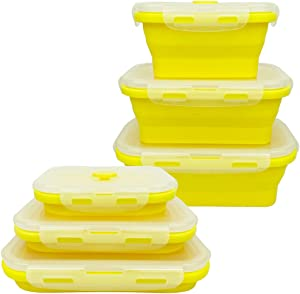 CARTINTS Yellow Collapsible Silicone Food Storage Containers Silicone Camping Bowl Silicone Lunch Box for Outdoor Camping, Travel, Hiking Office, Indoor Home Kitchen Food Grade 3 Pack