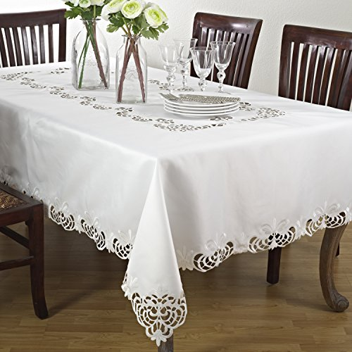SARO LIFESTYLE 114.I70120B Cutwork Lace Tablecloth, Ivory, -
