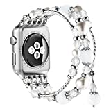 Simpeak Apple Watch Band, Replacement Fashionable Beaded Elastic Bracelet Band Strap for 38mm Apple Watch Series 3, Series 2, Series 1 - White