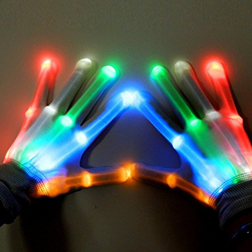 LED Gloves, Alotm 1 Pair Knit LED Gloves Party Light Show Gloves for Clubbing, Rave, Birthday, EDM, Disco, Christmas, Halloween And Dubstep Party, Colorful Flashing Light-emitting Gloves