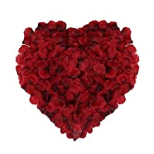 Naler 2000pcs Artificial Flowers Silk Rose Petals for Christmas, Wedding Decoration Flowers, Confetti, Table Scatter Red