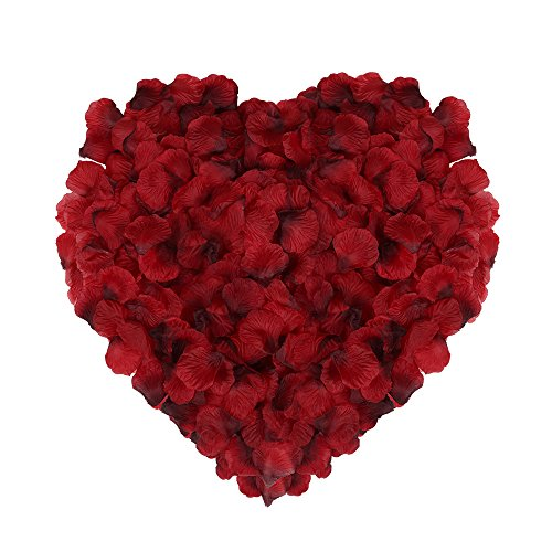 Naler 2000 Pieces Artificial Flowers Silk Rose Petals for Christmas Home Party Wedding Decoration Vase Confetti Table Scatter, Dark Red - Red Scatter Petals
