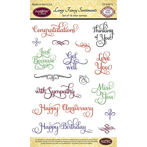Justrite 16-Piece Papercraft Clear Stamp Set, 4 by 6-Inch, Large Fancy Sentiments by Justrite