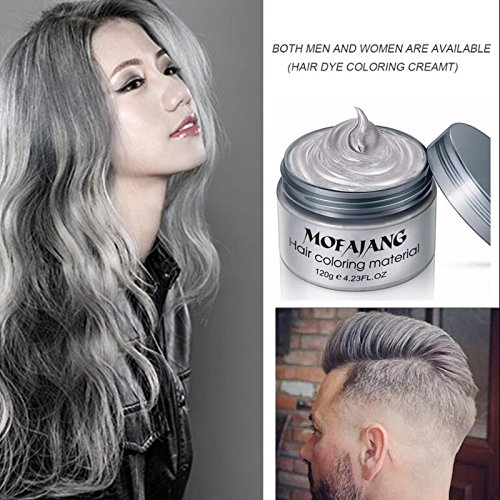 Silver Gray Hair Wax ,YHMWAX Fashion Colorful Hair Wax Pomades Disposable Natural Hair Strong Style Gel Cream Hair Dye,Instant Hairstyle Mud Cream for Party, Cosplay, Masquerade etc. (Silver Gray) ()